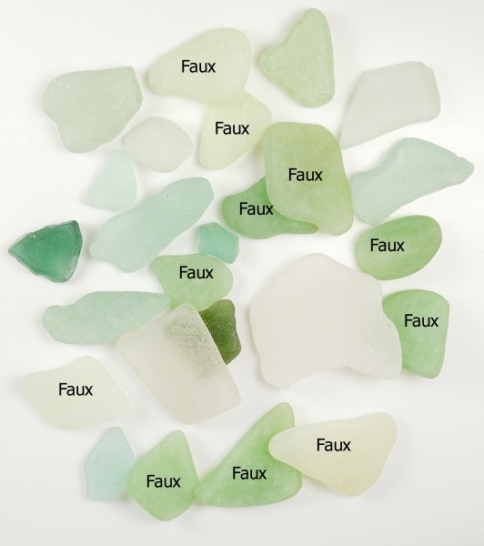 Faux sea glass made from polymer clay is labelled in this comparison.