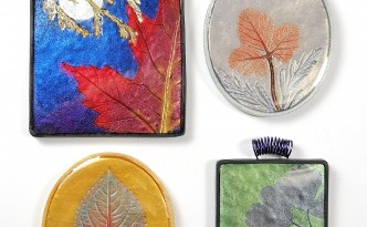 These pendants were made with the Mica Leaf Tutorial by Ginger Davis Allman.