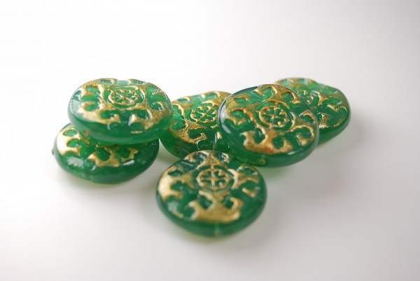 Green faux Czech glass beads made from polymer clay in the size you need for your project.