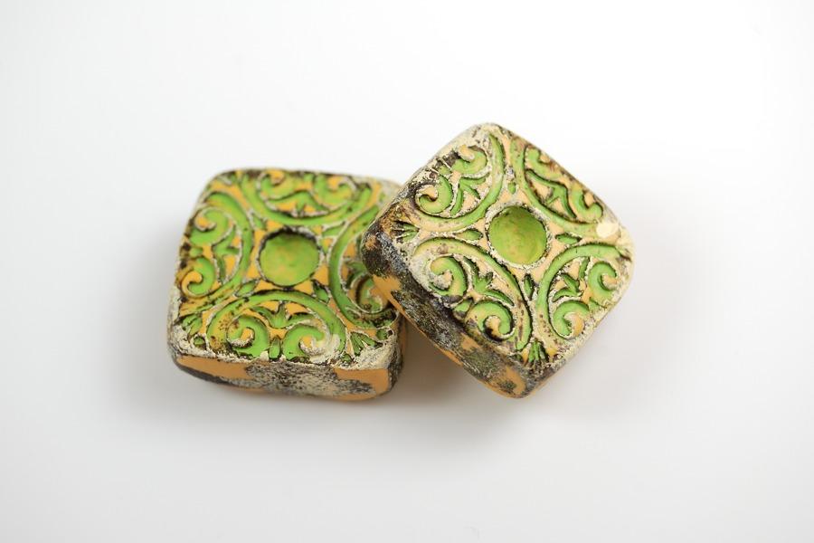 Pair of green Rustic Beads