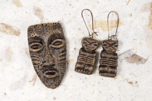 Tiki pendant and earrings made from Best Flexible Molds by Penni Jo Couch.
