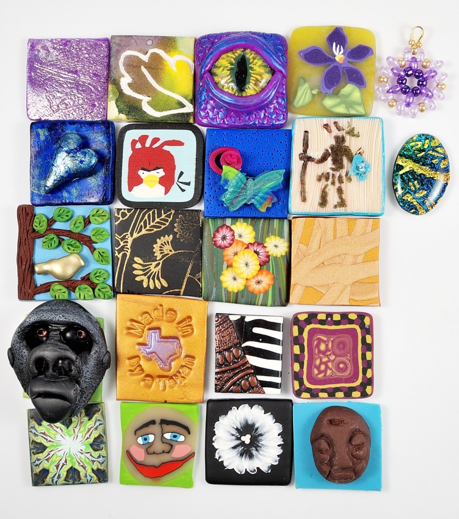 Inchies made and shared by the participants of the 2015 OK Twisters Poly Clay Retreat.