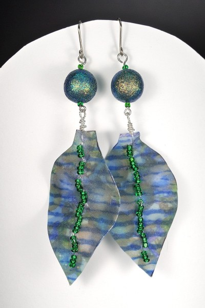 Liquid clay fabric earrings made in the KCPCG workshop with Ann and Karen Mitchell.