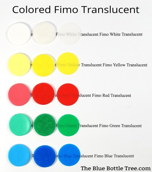 Fimo Translucent colors, showing raw, baked thick, and baked thin. This shows the colors and how translucent they are.