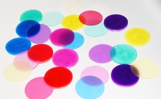 Circles of Pardo colored translucent polymer clay.