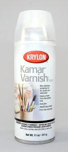 Kamar varnish is terribly sticky on polymer clay. Do not use it.