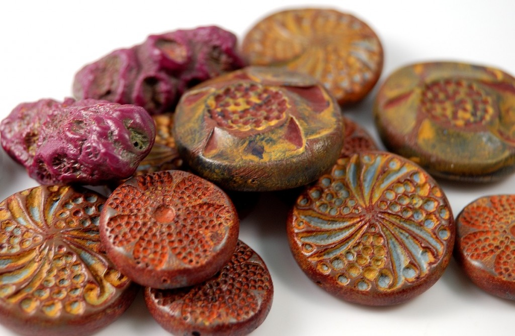 Rustic and organic beads made from polymer clay by Ginger Davis Allman
