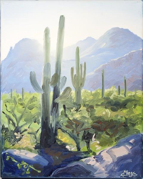 Original cactus oil painting by Meg Newberg.