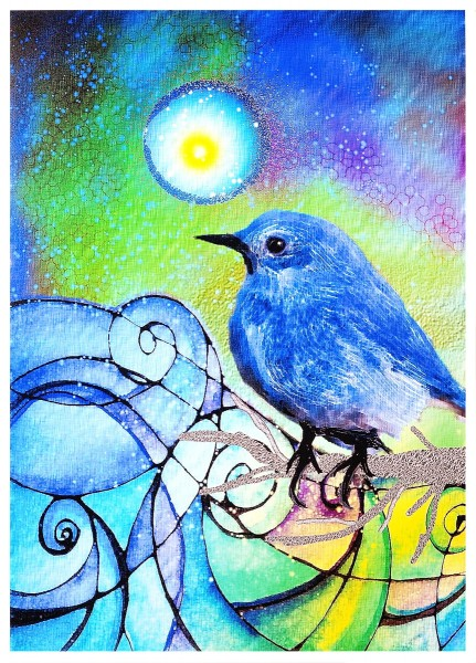 Robin Mead has a strong voice that uses her bright, clear colors in swirling, organic paths. This little bluebird sits on my studio wall. He makes me happy.
