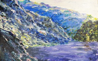 In college I made this copy of a Monet painting of The Petite Creuse River by Claude Monet. I learned a lot.