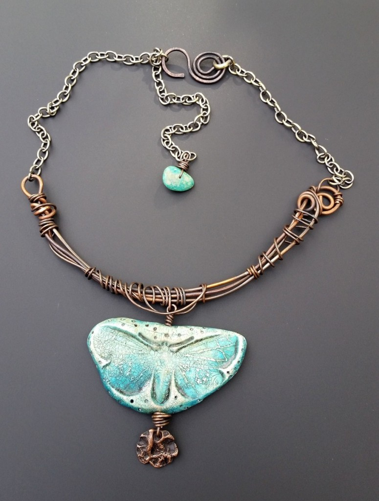 Staci Louise Smith necklace with wire and butterfly polymer
