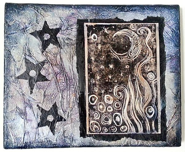 Staci Louise Smith mixed media woodcut print