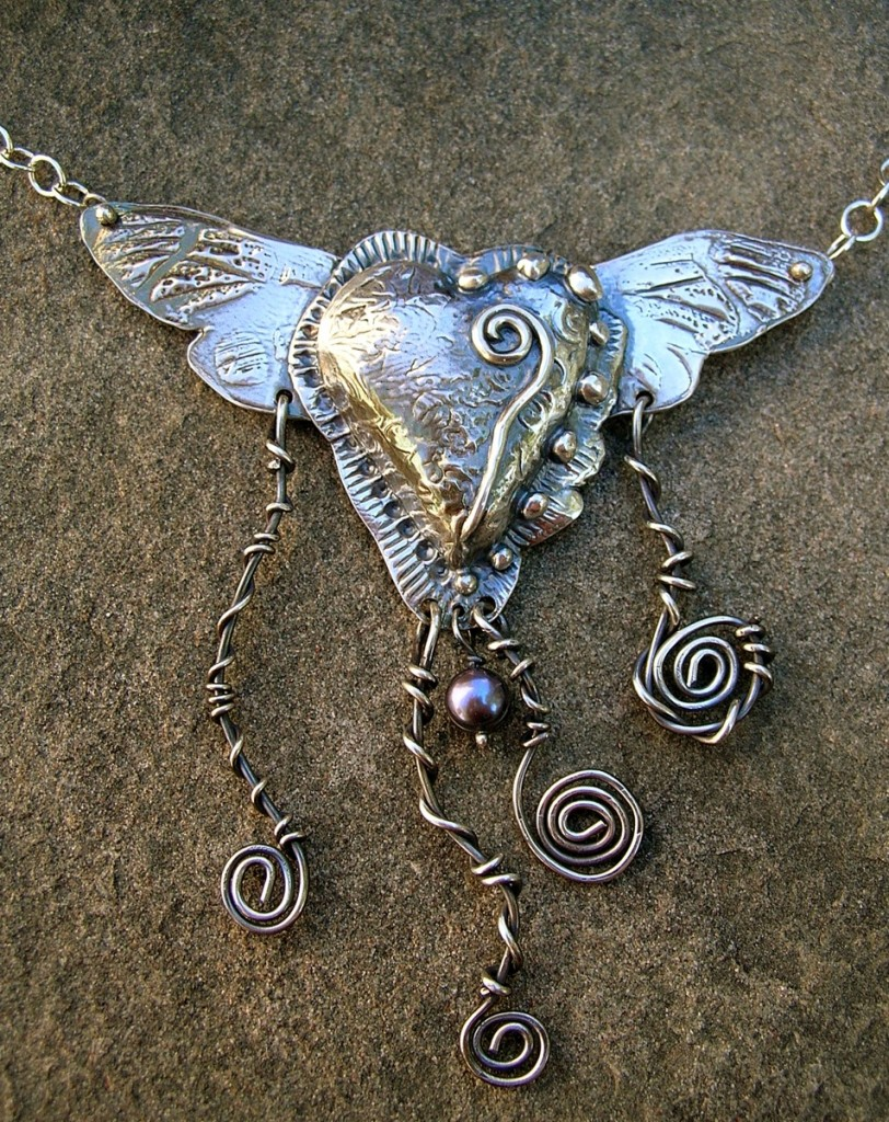 Staci Louise metal clay heart with wings