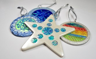 Holo Effect Ornaments in polymer clay , tutorial available from The Blue Bottle Tree.