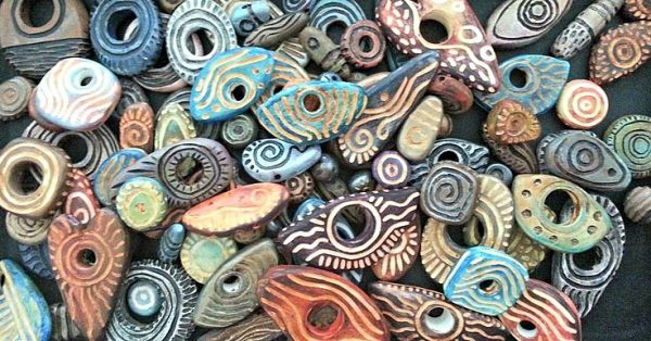 Staci Louise Originals carved polymer clay beads