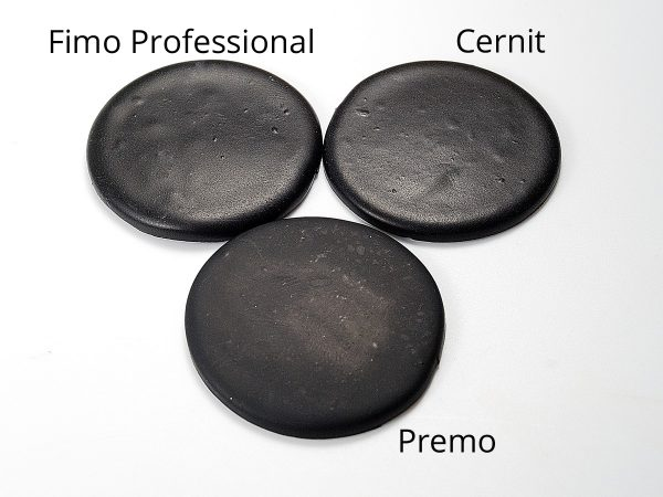 Notice how after baking, Premo doesn't have much sheen, but Cernit and Fimo Professional do.