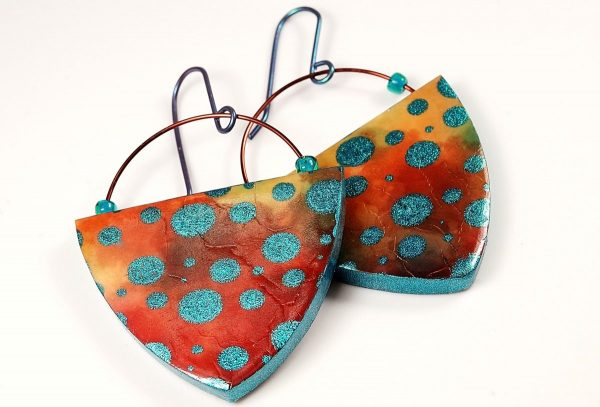 These dotty earrings show how Cernit can be painted and given surface treatments like any other brand of clay.