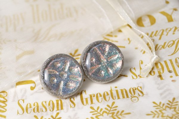Holo Effect Earrings made from polymer clay by Ginger Davis Allman.