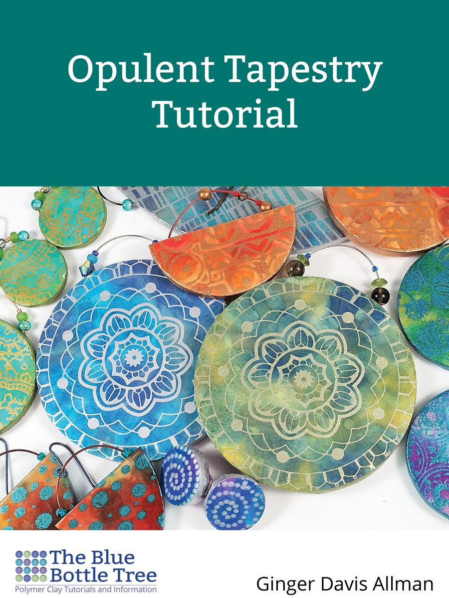 The Opulent Tapestry Tutorial in polymer clay takes you though the steps of making richly colored surfaces in this earring project.