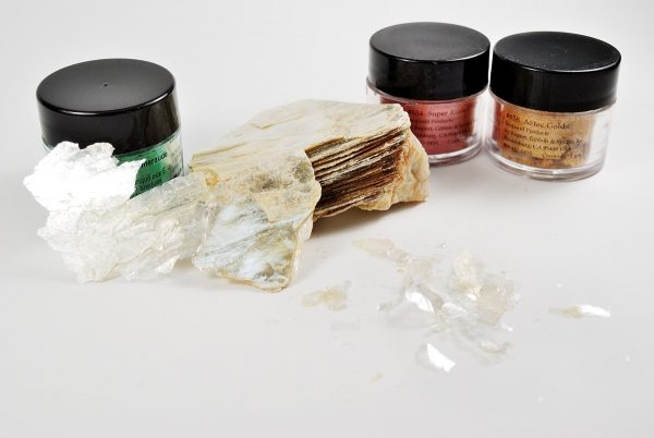 Mica is a flaky mineral rock that is ground into a pigment called mica powder. Pearl Ex is one brand of mica powder.