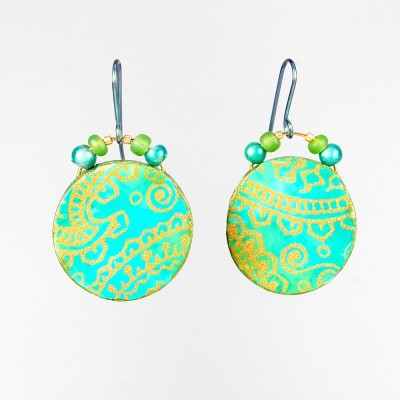 Simple circular Opulent Tapestry earrings made with the polymer clay tutorial from The Blue Bottle Tree.