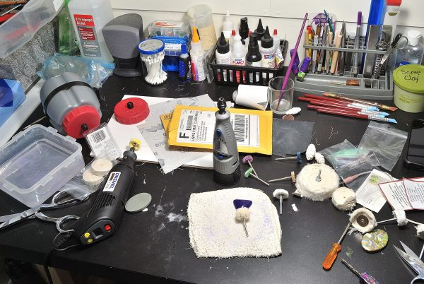 Huge mess on my workbench after writing the sanding and buffing polymer clay ebook.