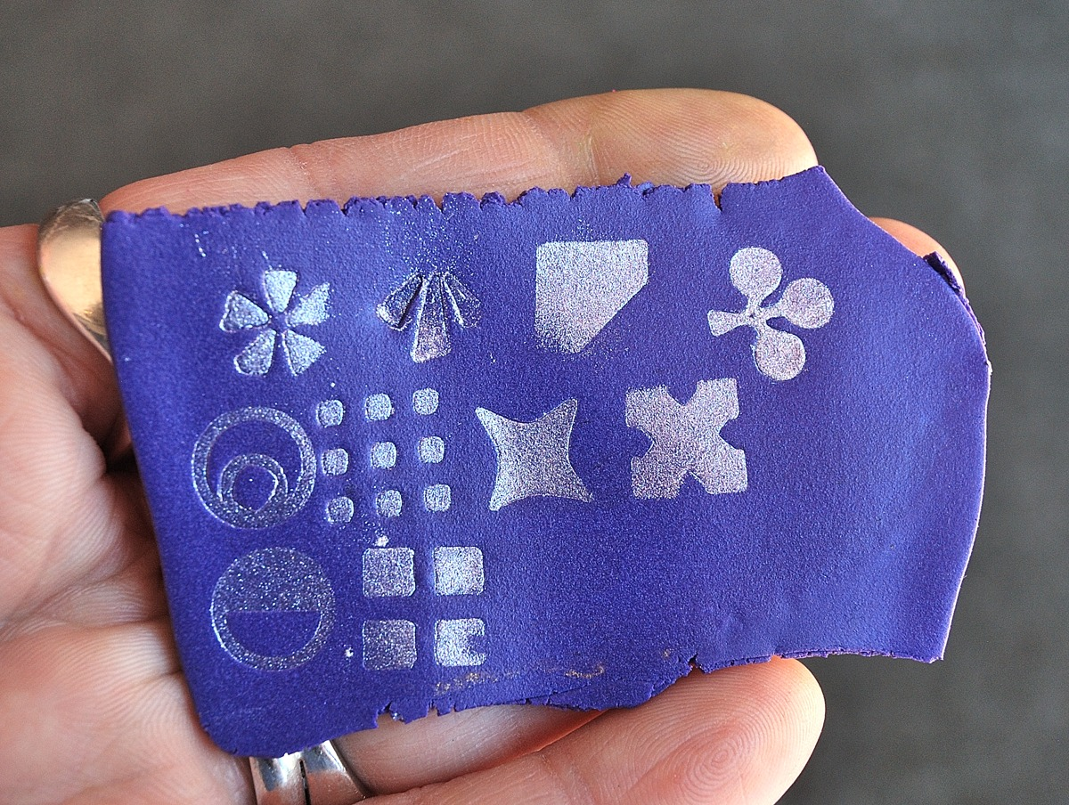You can use Stampies for creating stamped impressions with mica powder or paint on polymer clay.