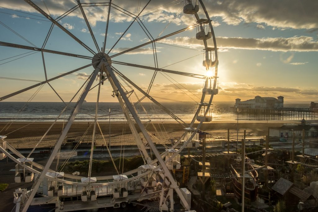 A ferris wheel as seen from the window of our hotel at Weston-Super-Mare.