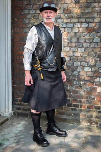 Gary's steampunk wedding outfit.