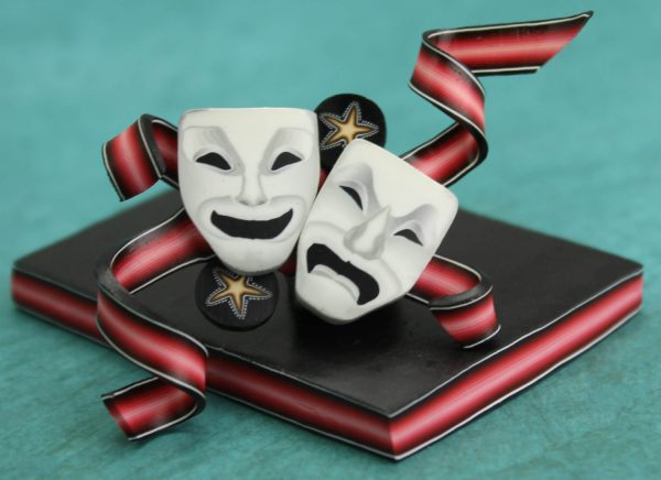Comedy and tragedy masks by Ivy Niles of iKandiClay.