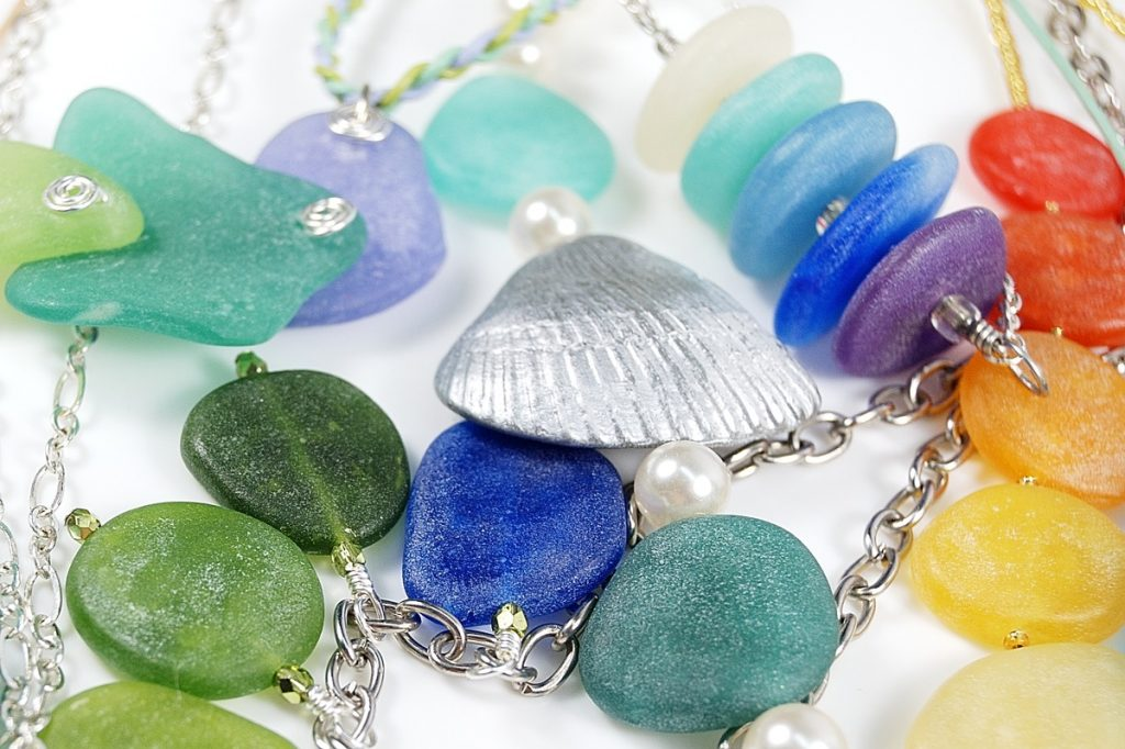 Polymer clay faux sea glass and shells make great jewelry for the summer.