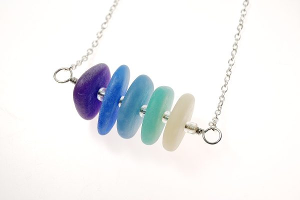 Polymer clay faux sea glass can be made in a color gradient to make this gorgeous pendant idea.