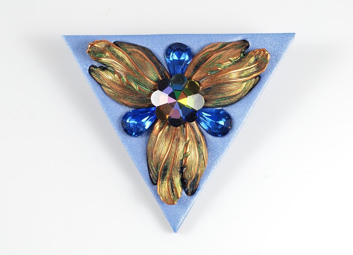 Triangle flower brooch by Ginger Davis Allman.
