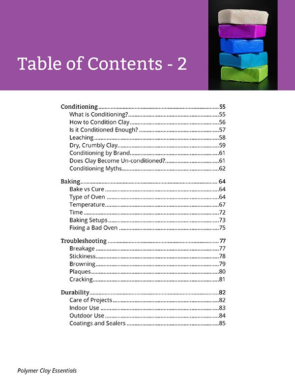 Page from table of contents of Polymer Clay Essentials by Ginger Davis Allman