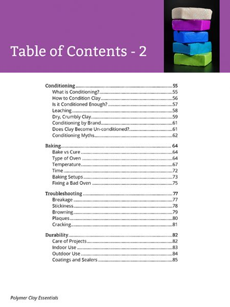 Here's page two of the table of contents for the Polymer Clay Essentials eBook, a veritable textbook for polymer clay enthusiasts of all levels.
