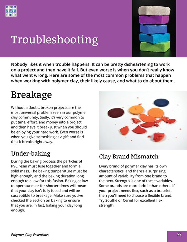 Page from the Polymer Clay Essentials eBook by Ginger Davis Allman.