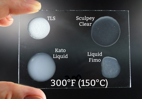 Four brands of liquid polymer clay baked at 300°F.