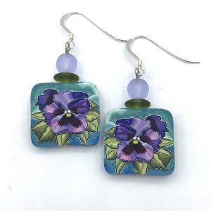 Pansy earrings by Jayne Dwyer of Paper Moon Jewelry