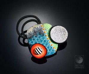 Bettina Welker brooch made from polymer clay.