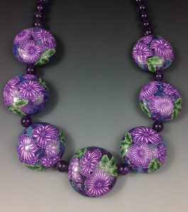 Amethyst millefiori necklace by Eriko Page