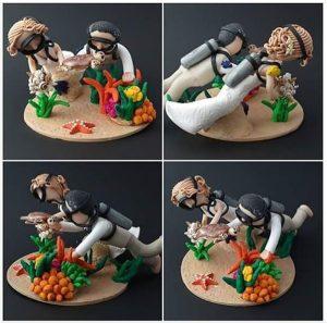 Scuba diver cake topper by Karolina Söderberg of Hobbyrian