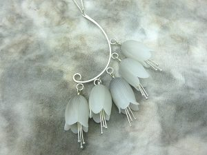 Bellflower earrings by Phyllis Polema-Cahill of Busy Nuthatch Designs