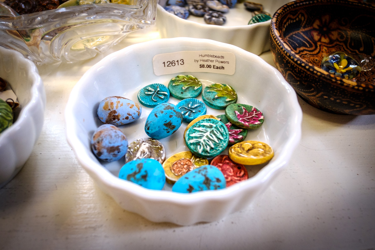 Polymer clay beads by Heather Powers of Humblebeads at Allegory Gallery in Ligonier, Pennsylvania.