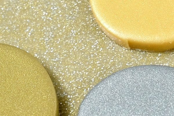 Premo metallic polymer clay over the top of Premo white gold glitter clay.