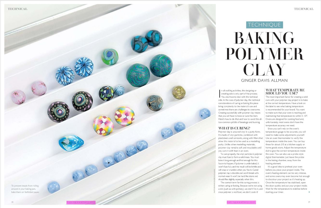 Baking Polymer Clay article in Making Jewellery magazine by Ginger Davis Allman.