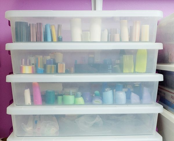 These plastic boxes stack neatly on the shelf, making it easy to store polymer clay canes.
