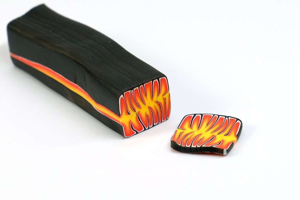 Flame canes are made from bullseye canes.