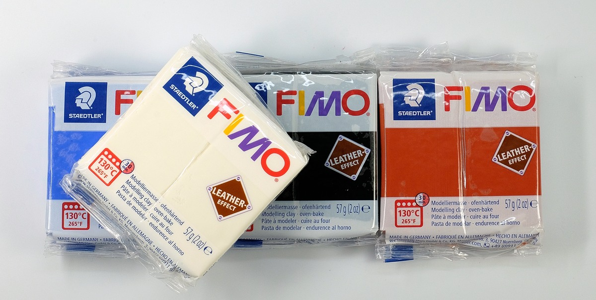 Fimo Leather Effect polymer clay, new from Staedtler. Great for making faux leather crafts.