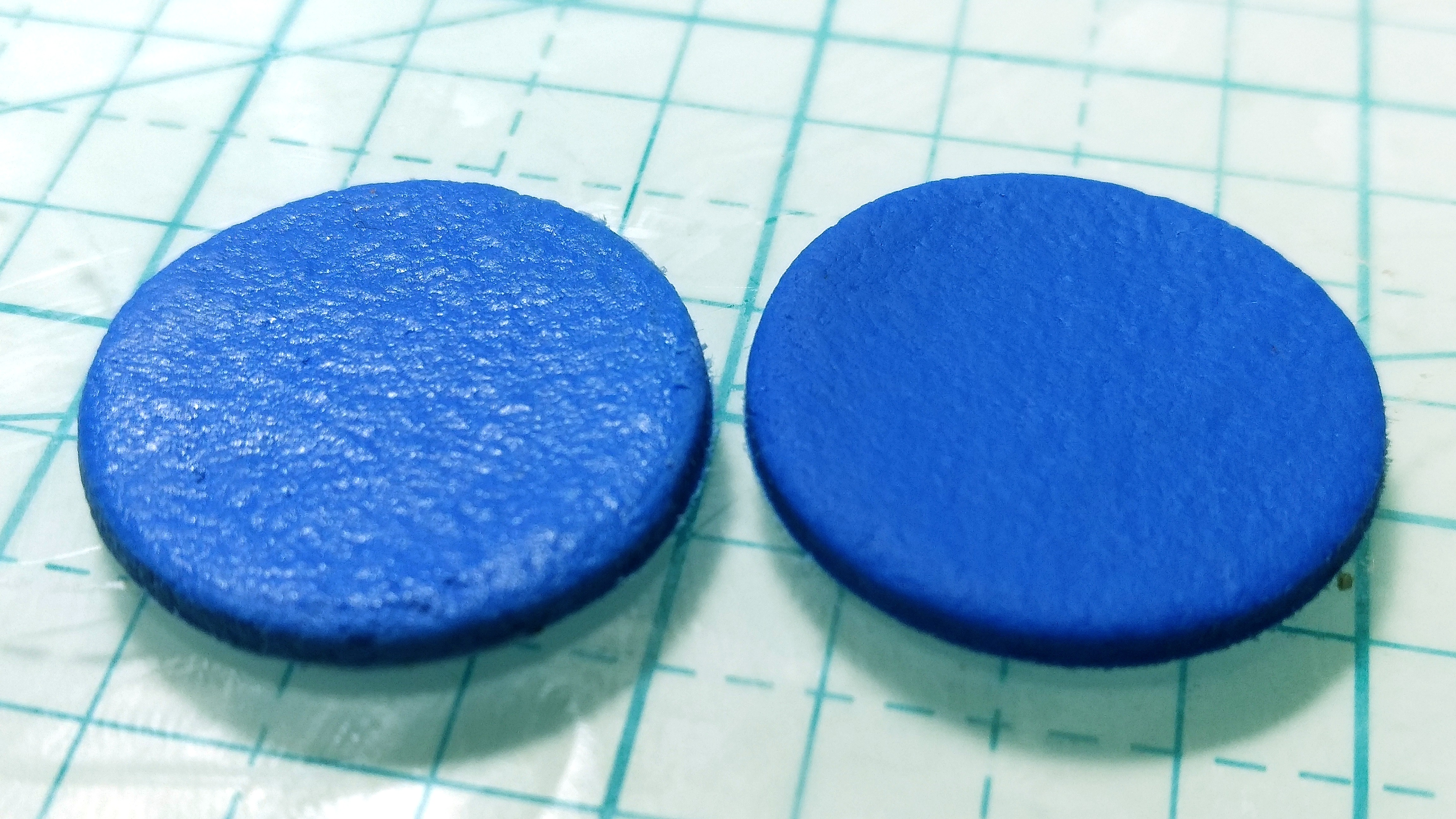 Unbaked vs baked Fimo Leather.