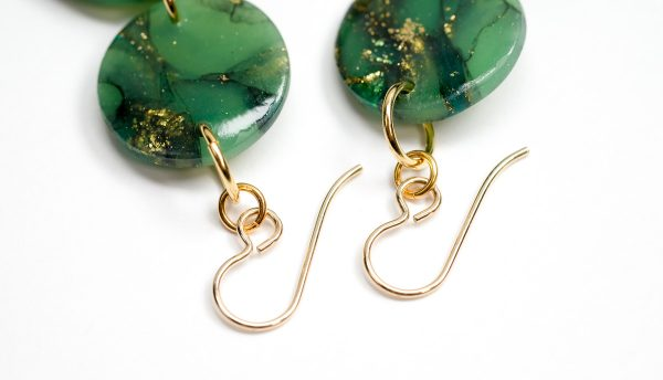 gold-filled earwires on polymer clay earrings